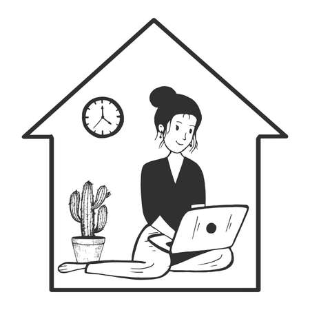 Vector hand drawn illustration of woman studying or working in internet sitting with laptop under house roof frame in vintage engraved style. Stay home, quarantine. Isolated on white background. Stok Fotoğraf - 157499795