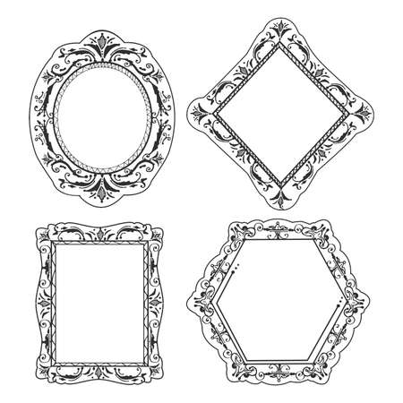 Vector hand drawn illustration of elegant royal calligraphic frame and dividers oval, rectangle, hexagonal, diamond shape in vintage engraved style. Isolated on white background.