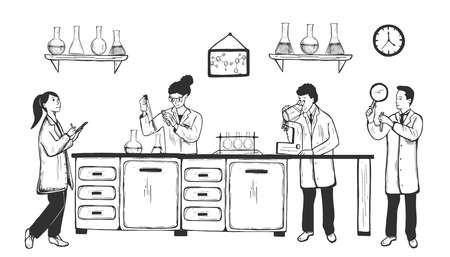 Vector hand drawn illustration of scientist working at medical research biochemical laboratory. Man woman in uniform holding tubes, magnifying glass, flasks making analysis in vintage engraved style Çizim