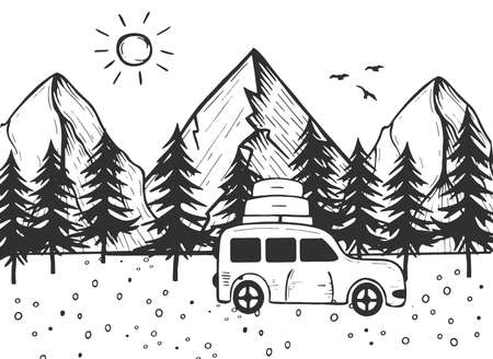 Vector illustration of travel outdoor active vacation in mountain forest. Car with luggage on roof rack over highlands background. Vintage hand drawn style.