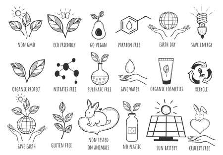 Vector illustration of eco-friendly icon. Vegan, gmo harmful additives free, earth day, save energy, organic cosmetics, recycle, no tested on animals, no plastic, sun battery. Vintage hand drawn style Stok Fotoğraf - 157561960