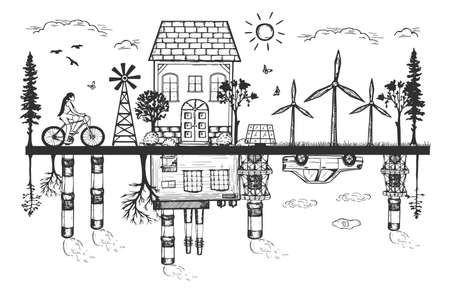 Vector illustration of industrial pollution and green technology. Renewable healthy vs harmful traditional energy sources. Nuclear power station and solar panel, windmill. Vintage hand drawn style.