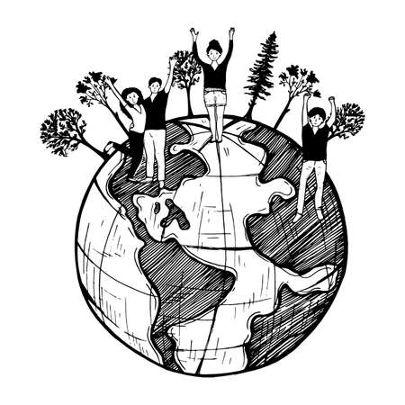 happy green world vector, illustration, cartoon, doodle, style, hand, drawn, vintage, outline, Cheerful people on globe planet celebrating environment ecology day green earth symbol