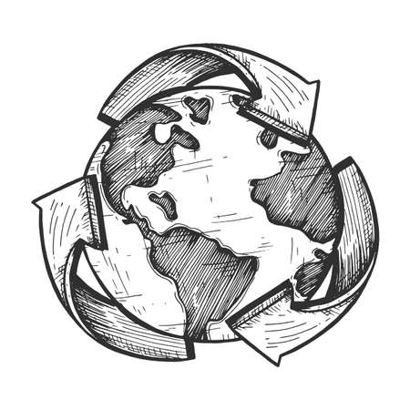 Vector illustration of world global recycle symbol. Arrow around earth planet. Environmental conservation. Vintage hand drawn style. Çizim