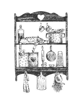 Vector illustration of a kitchen shelves with a cat sitting on it. Cute sweet home scene with pet and kitchenware. Pot, towels, board, grater, dishes, cutlery, mug. Vintage hand drawn engraving etched style.