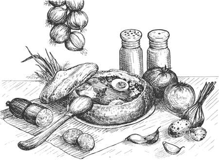 Vector illustration of a Polish national traditional soup dish Zurek. Vintage hand drawn engraving etched style. Çizim