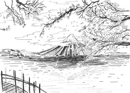 Vector illustration of a landscape background panorama of Japanese volcano, lake and sakura cherry in blossom. Vintage hand drawn engraving etched style.