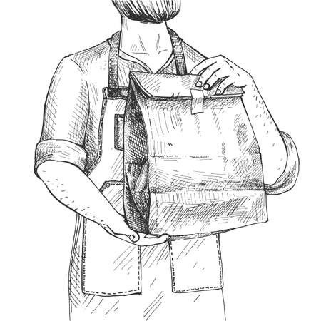 Vector illustration of a food delivery courier bearded man with a paper packaging with fast-food. Vintage hand drawn engraving etched style.