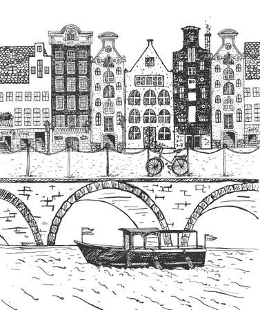 Vector illustration of Netherlands street. Old buildings, channel, bicycle. Vintage hand drawn engraving etched style. Stok Fotoğraf - 157885047