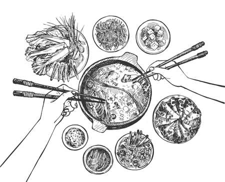 Vector illustration of 2 people group hands eating Shabu Shabu traditional Japanese oriental dish with chopsticks. Vintage hand drawn engraving etched style.