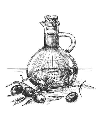 Vector illustration of the olive oil in a beautiful glass decanter bottle. Fresh olives. Vintage hand drawn engraving etched style.