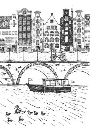 Vector illustration of Netherlands street. Old buildings, channel, bicycle. Vintage hand drawn engraving etched style. Çizim