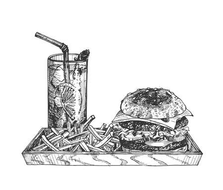 Vector illustration of a craft burger and fries or sweet potato on a wooden plywood tray. Fresh cold summer drink lemonade. Fast-food festival, street food. ... Vintage hand drawn engraving etched style. Stok Fotoğraf - 157885562