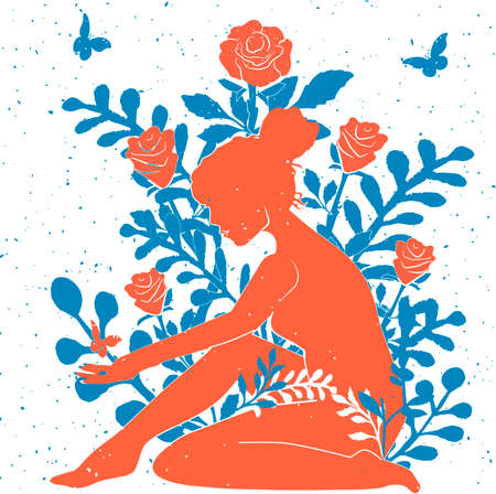 Vector illustration of young woman and rose. Beautiful girl silhouette over blooming flower. Female figure sitting among blossom bud, leaf on stem. Girl on floral background. Vintage hand drawn style 向量圖像