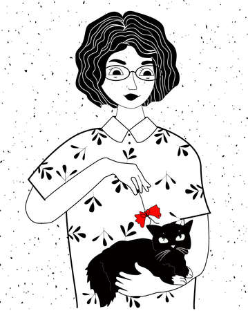 Vector illustration of girl and cat. Black-and-white portrait of young woman or teenager with black fluffy kitten on shoulders. Love and friendship. Vintage hand drawn style.
