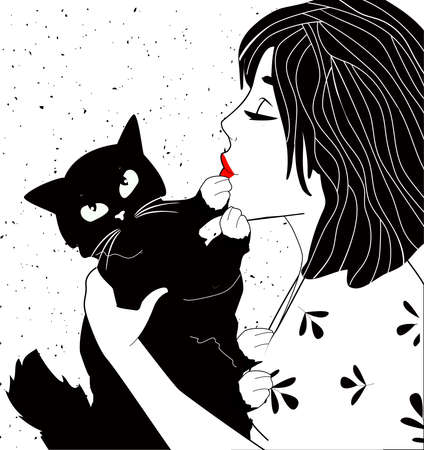 Vector illustration of woman and cat. Young beautiful lady with red lips kissing cute black cat. Black-and-white portrait. Vintage hand drawn style.