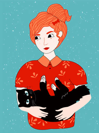 Vector illustration of happy pet owner. Red-haired girl holding black cat in hand. Vintage hand drawn style.