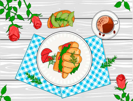 Vector illustration of served breakfast table. Coffee, sandwich and croissant still life. Food on plate, checkered napkin and rose bud stem top view. Vintage hand drawn style. 向量圖像