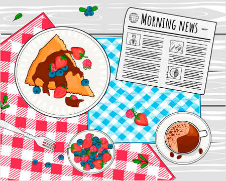 Vector illustration of breakfast still life. Coffee, cake and forest berries. Served table with napkin and newspaper top view. Vintage hand drawn style. 向量圖像