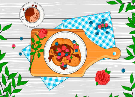 Vector illustration of coffee and pancakes on breakfast. Checkered tablecloth, cutting board, rose flower decoration, drink in cup and baked flipper with toping and berries. Vintage hand drawn style.