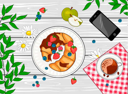 Vector illustration of french breakfast. Appetizing delicious croissant with berry, toping, hot coffee drink on background checkered tablecloth. Mobile phone on served table. Vintage hand drawn style