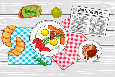 Vector illustration of morning breakfast still life. Coffee cup, fried eggs with sausages and tomatoes on plate, sandwich with avocado, croissant, daily newspaper. Top view. Vintage hand drawn style.