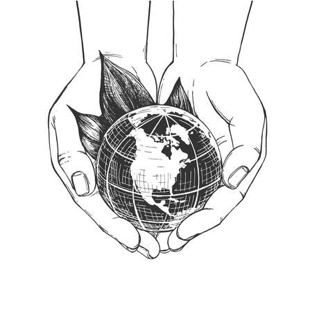 Vector illustration of earth protection symbol. Hand holding world globe planet. Protect nature and ecology concept. Vintage hand drawn style.