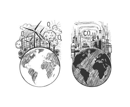 Vector illustration of earth ecology icon. Traditional factory plant causing industrial environmental pollution and green city supplied alternative clean energy sources. Vintage hand drawn style.