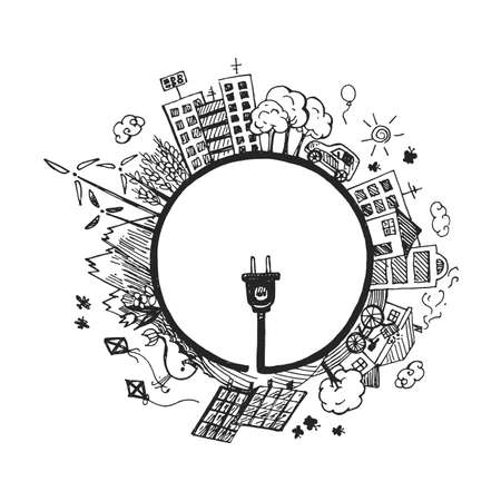 Vector illustration of natural protection for healthy life. Renewable alternative clean energy sources as windmill, solar battery on earth planet, plant stem wire with plug. Vintage hand drawn style.