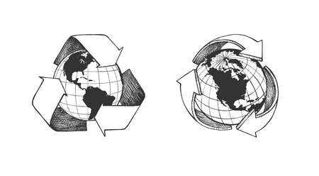 Vector illustration of world global recycle symbol. Arrow around earth planet. Environmental conservation. Vintage hand drawn style. 向量圖像