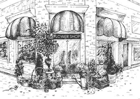 Vector illustration of flower shop building facade. Store in street corner offering different floral composition and bouquet. Vintage hand drawn style.