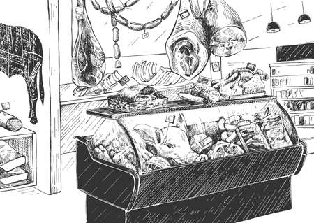Vector illustration of meat supermarket inside. Butcher shop checkout counter with food product assortment on showcase. Vintage hand drawn style.