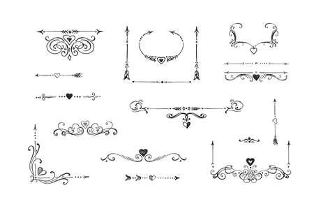 Vector illustration of floral, calligraphic ornament elements collection. Retro label, corner, arrow separators sketch. Vintage hand drawn style. 向量圖像