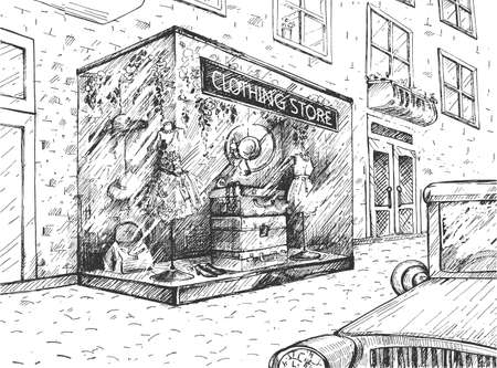 Vector illustration of clothing store facade. Woman fashion boutique or local street shop with dress, hats, bags, shoes in showcase. Building at sidewalk, moving car on road. Vintage hand drawn style