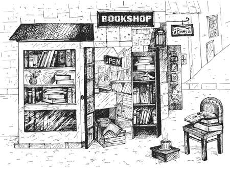 Vector illustration of open european bookshop. Local street building exterior, chair, book stack, steaming coffee cup and showcase assortment for reading. Vintage hand drawn style.