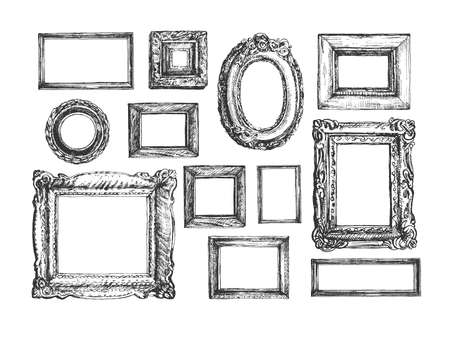 Vector illustration of photo frame. Antique ornamental and old-fashioned picture border square, rectangle, round and oval shape for decoration and design. Vintage hand drawn style. 向量圖像