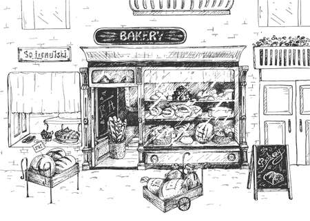 Vector illustration of bakery shop front view. Glass showcase with baked pastry, bread, cupcake and pie. Wheelbarrow with flour bag and advertising chalkboard. Vintage hand drawn style. 向量圖像