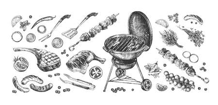 Vector illustration of barbeque set. Bbq grill equipment and accessories. Vegetable and meat dish as ham, sausages, kebab. Spatula, forceps, fork. Vintage hand drawn style.