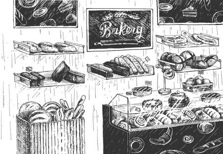 Vector illustration of bakery shop interior. Store showcase with cupcake, pie, cake, bun, baguette, croissant, bread assortment. Vintage hand drawn style. 向量圖像