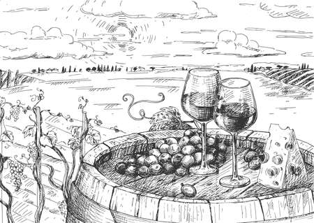 Vector illustration of wine sketch. Two wineglass, grapes and hard cheese on wooden barrel. Vineyard valley natural landscape. Vintage hand drawn style.