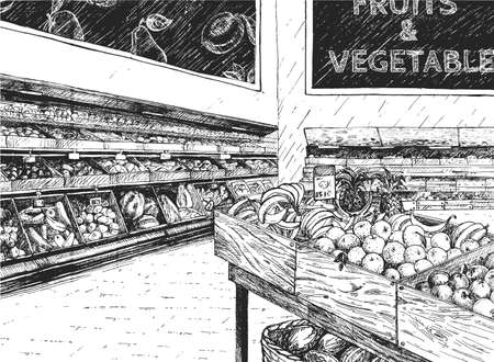 Vector illustration of fruit and vegetable in supermarket. Grocery shop interior with wooden crate rack full of fresh organic natural farm food. Vintage hand drawn style. 스톡 콘텐츠