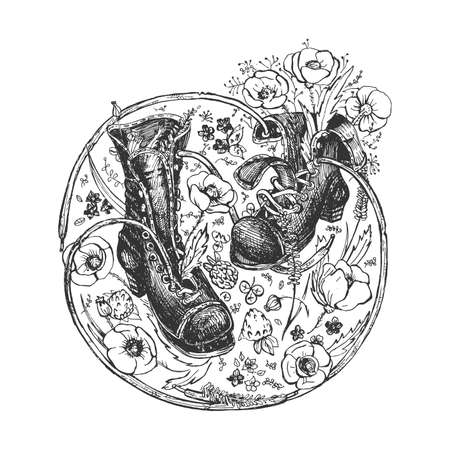 Vector illustration of old boots. Retro hiking shoes on round floral frame with meadow flowers ornate. Vintage hand drawn style.