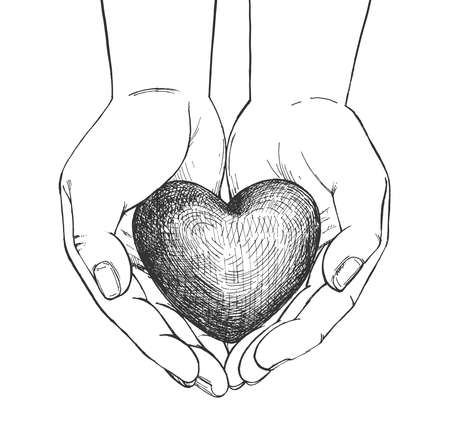 Vector illustration of heart in hand. Symbol of love in caring male palm. Vintage hand drawn style.