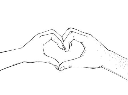 Vector illustration of human hand heart shape. Male and female finger folded in gesture showing love and harmony symbol. Vintage hand drawn style.