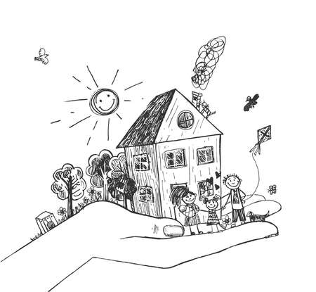 Vector illustration of home care. Happy family and cozy house under shiny sun in hand sketch. Vintage hand drawn style.