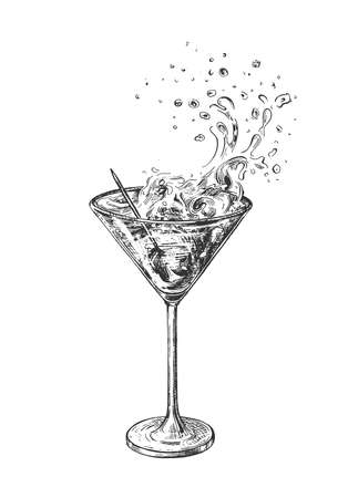 Vector illustration of martini glass. Alcoholic cocktail with olive on toothpick and splash. Vintage hand drawn style. 일러스트