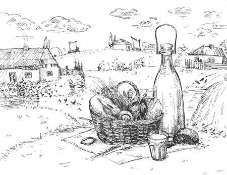 Vector illustration of country farm food sketch. Fresh baked farm bread and milk in bottle on village nature landscape with houses. Vintage hand drawn style. 일러스트
