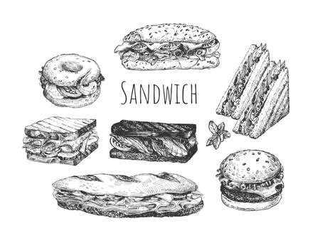 Vector illustration of sandwich set. Hot dog, bagel, sandwich and hamburger. Fast food snack. Vintage hand drawn style.