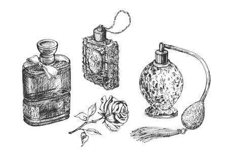 Vector illustration of perfumery sketch. Fashion female perfume in glass bottle composition with blooming rose bud flower. Vintage hand drawn style.