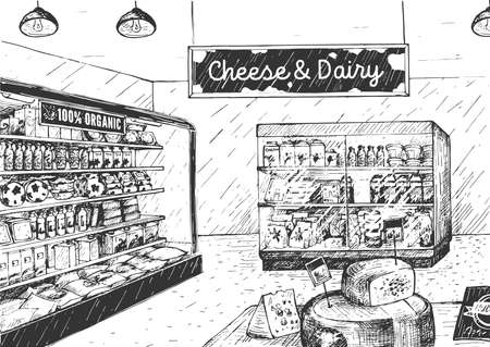 Vector illustration of Cheese and dairy in supermarket. Grocery shop interior with wooden crate rack full of fresh organic natural farm food. Vintage hand drawn style. 일러스트